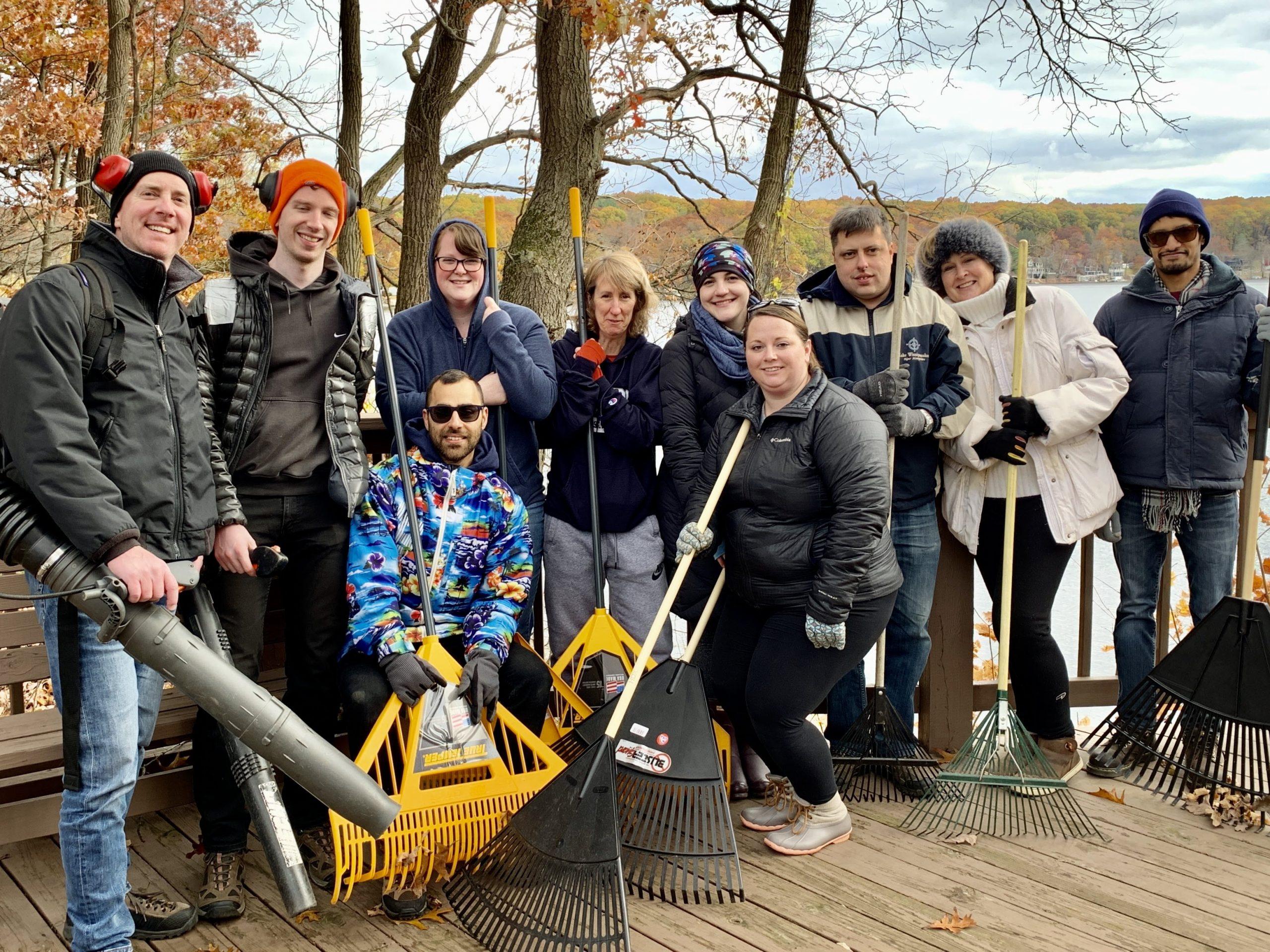 Pretty Lake Camp Volunteers love to rake