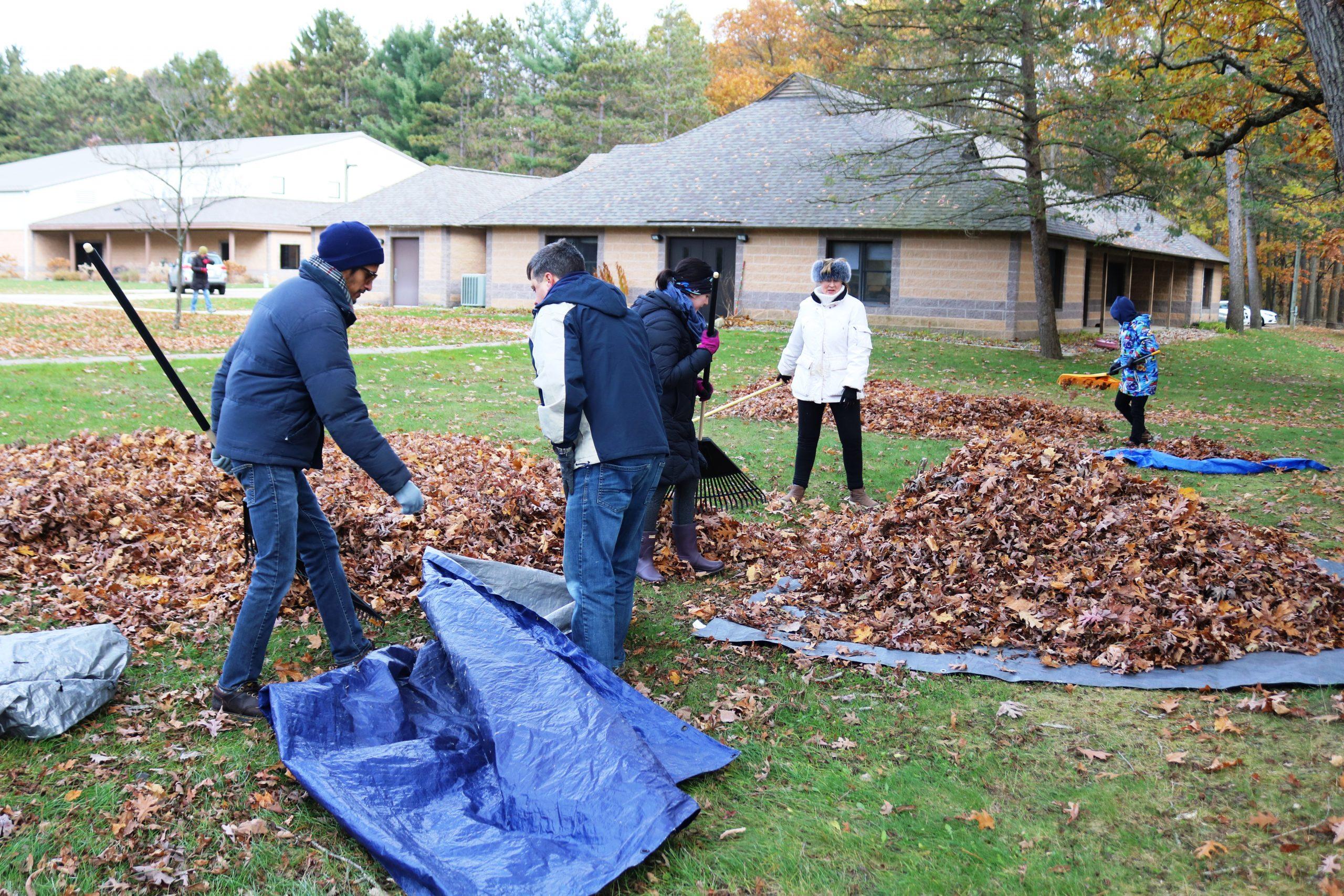 Pretty Lake Camp Volunteers love to help rake leaves